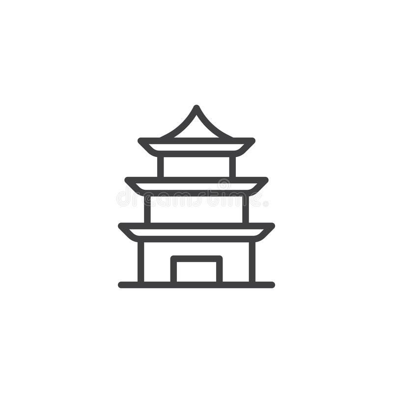 Chinese Temple line icon. Linear style sign for mobile concept and web design. Pagoda building outline vector icon. Symbol, logo illustration. Pixel perfect vector illustration