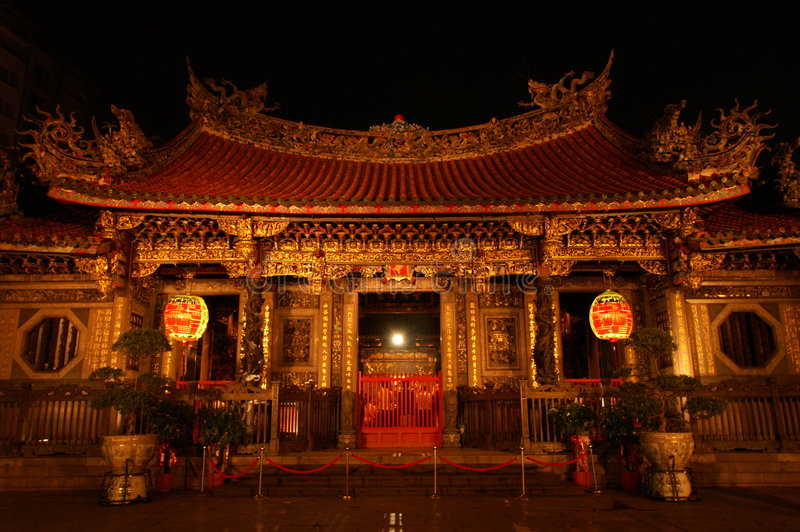 Chinese Temple Night Scene royalty free stock image