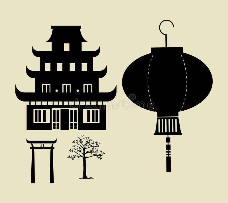Chinese temple. Over beige background vector illustration stock illustration