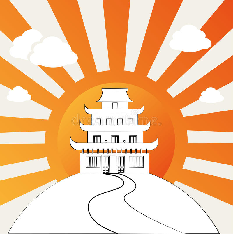 Chinese temple. Over grunge background vector illustration vector illustration