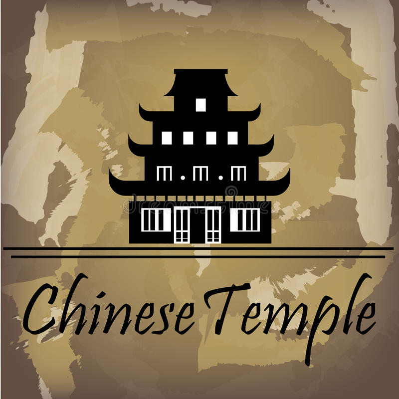 Chinese temple. Over pattern background vector illustration royalty free illustration