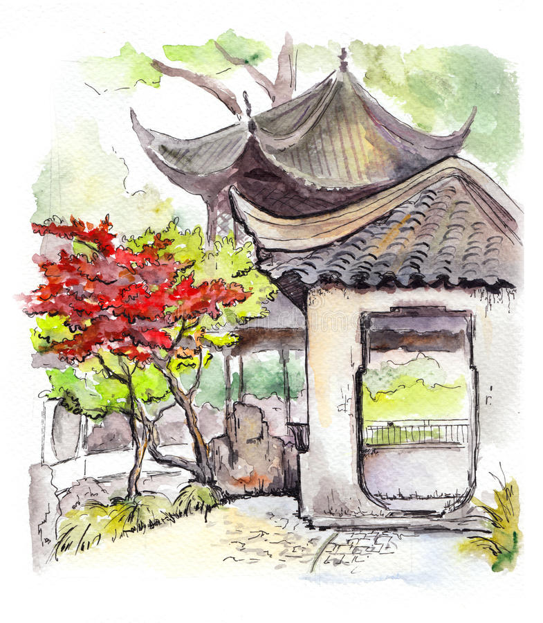 Chinese Old Building Watercolour