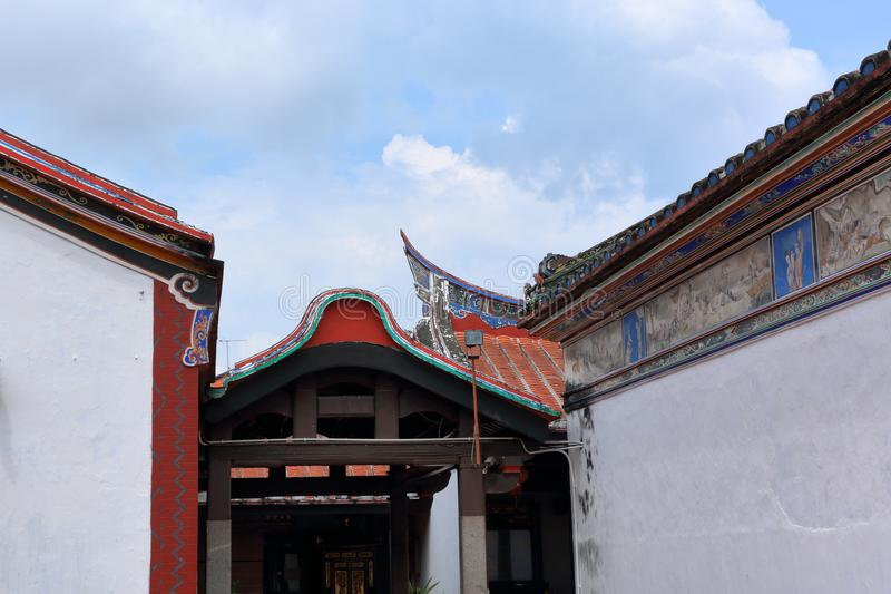 Chinese temple roof design. Different styles of Chinese temple roof design with beautiful paintings stock images