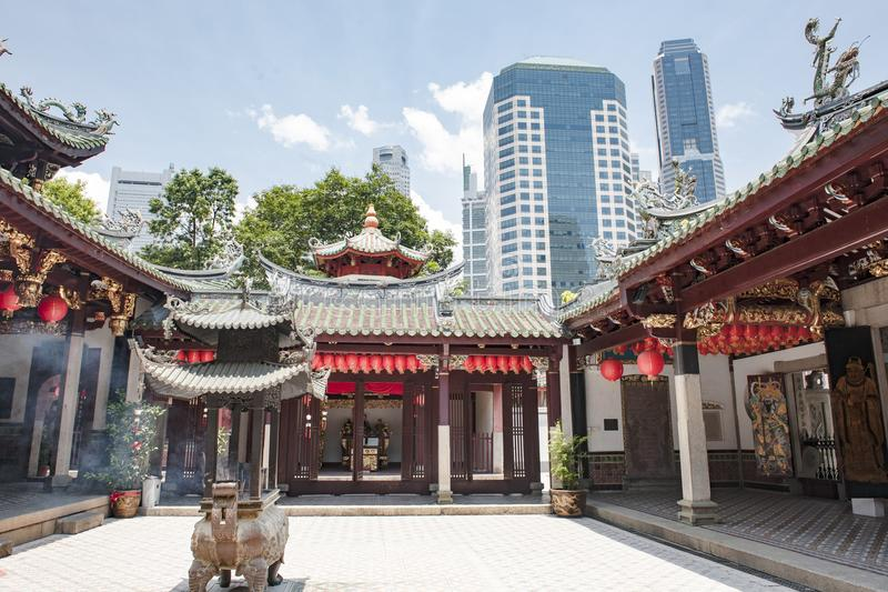 Chinese Temple  Thian Hock Keng in Singapore stock image
