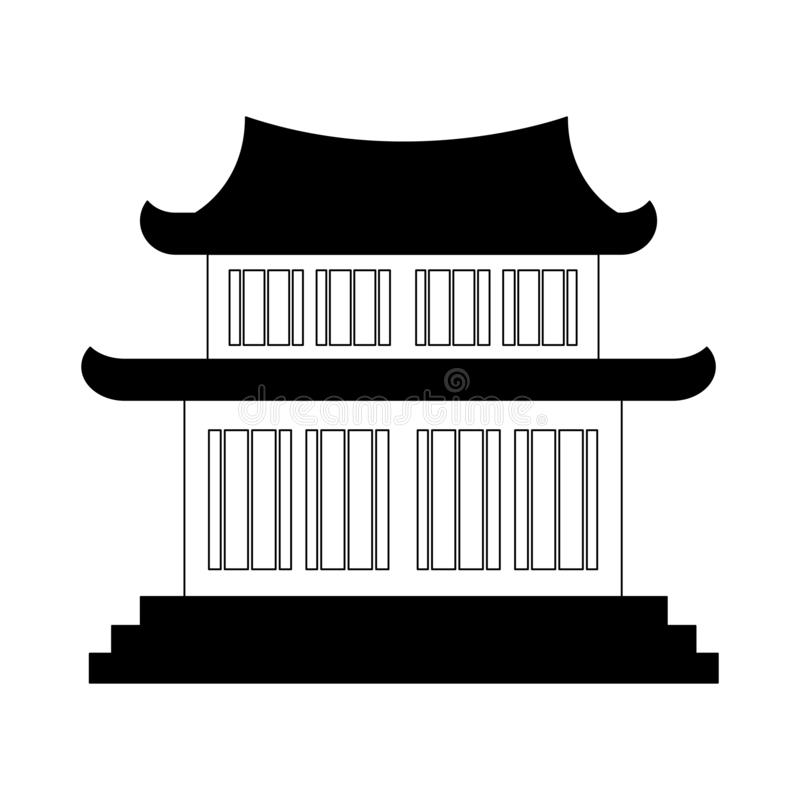 Chinese temple symbol in black and white. Chinese temple symbol vector illustration graphic design royalty free illustration