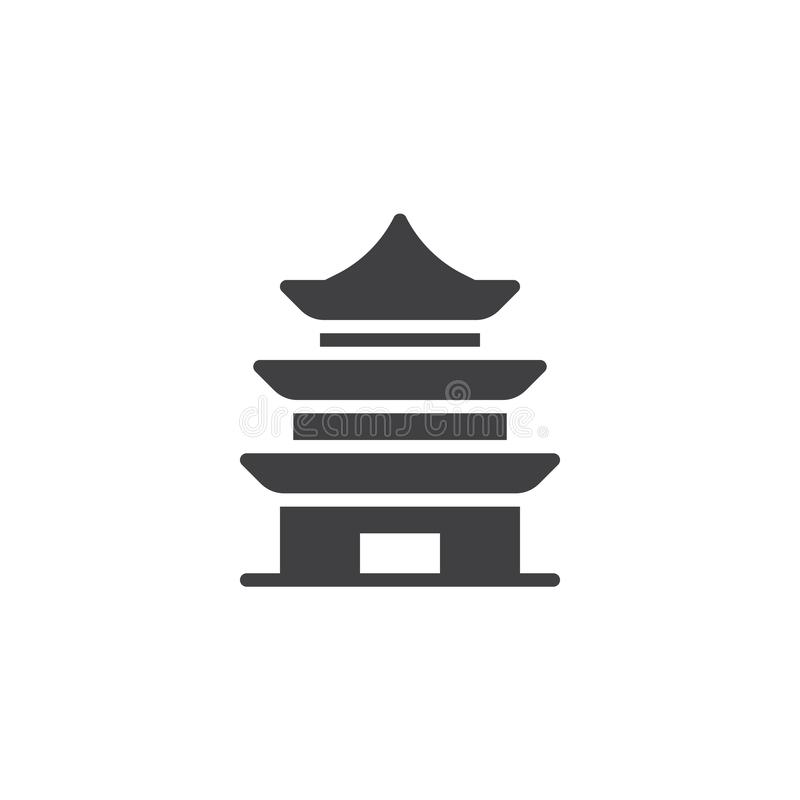 Chinese Temple vector icon. Filled flat sign for mobile concept and web design. Pagoda building simple solid icon. Symbol, logo illustration. Pixel perfect royalty free illustration