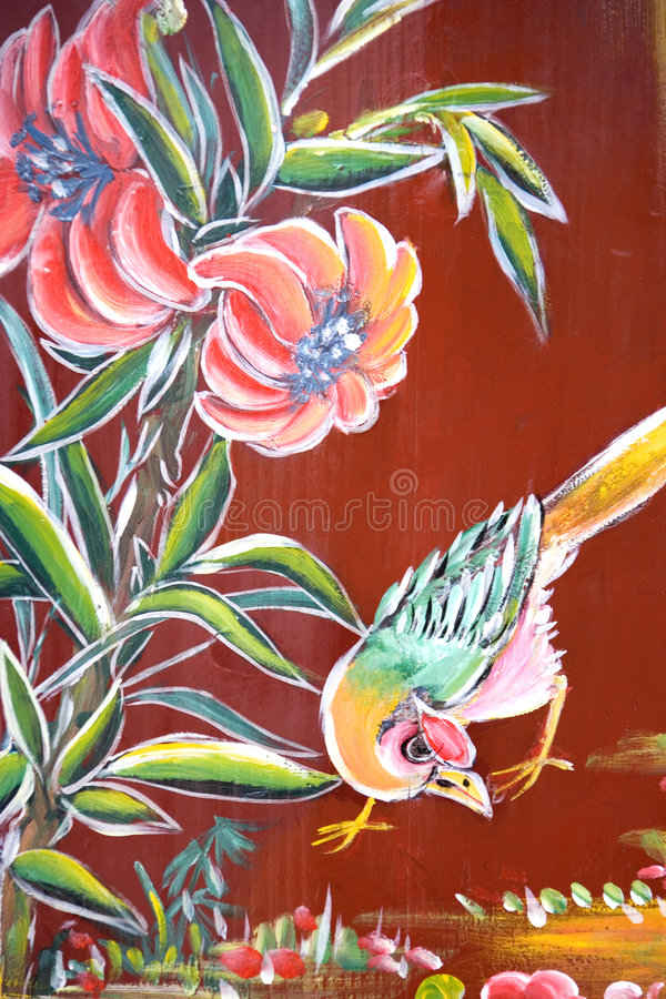 Chinese Temple Wall Art. Traditional artwork on a Chinese temple wall in Malaysia royalty free illustration