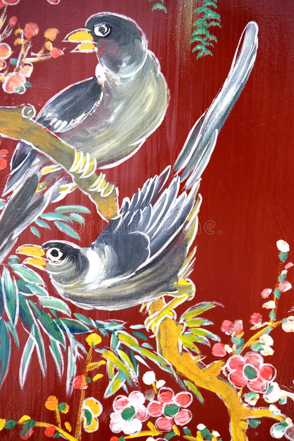 Chinese Temple Wall Art. Traditional artwork on a Chinese temple wall in Malaysia stock illustration
