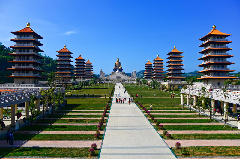 Chinese temples and golden Buddha statue royalty free stock photography