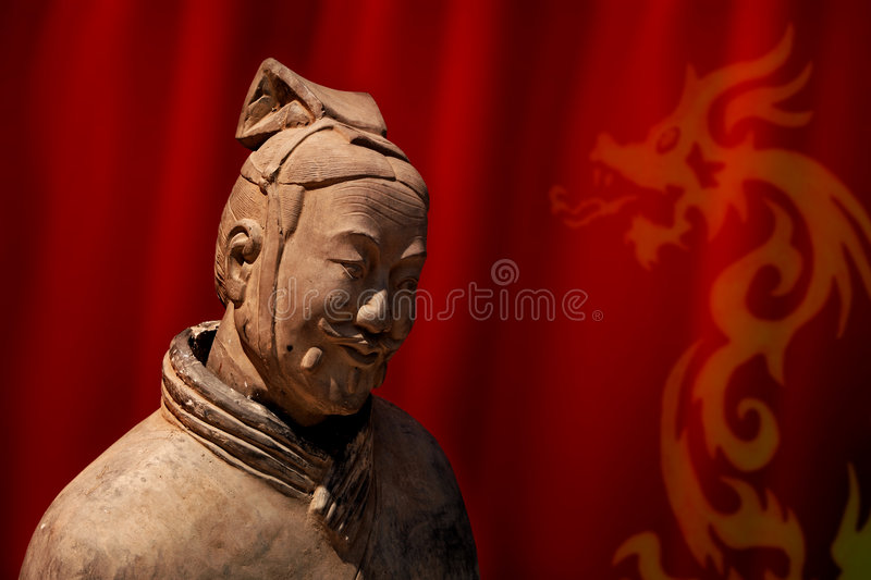 Terracotta warrior, soldier. Chinese terracotta warrior of Qin Shi Huang emperor founder of the Qin dynasty royalty free stock images