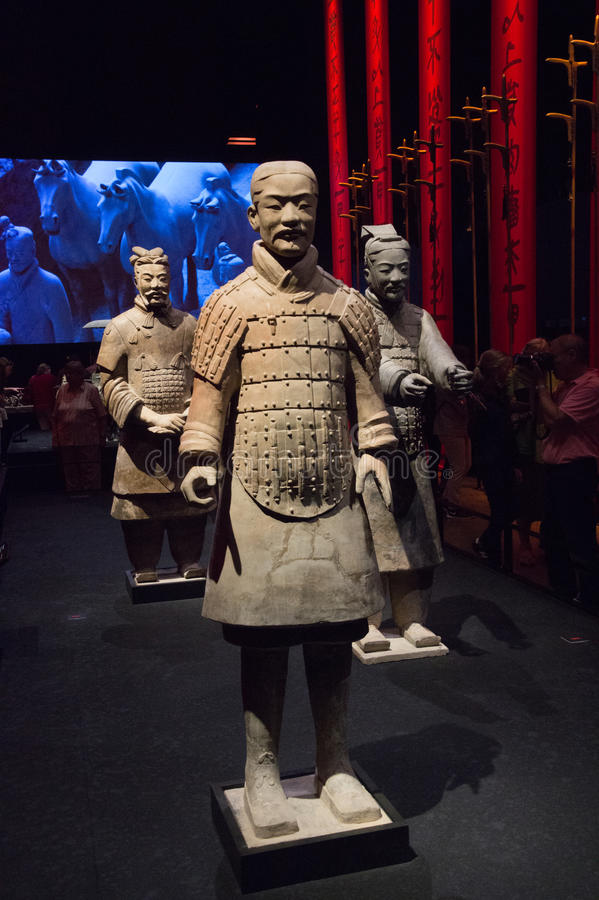Chinese terracotta warriors at Moesgaard Museum, Aarhus, Denmark. Terracotta soldiers warriors from China exhibited at Moesgaard Museum, Aarhus, Denmark royalty free stock photography