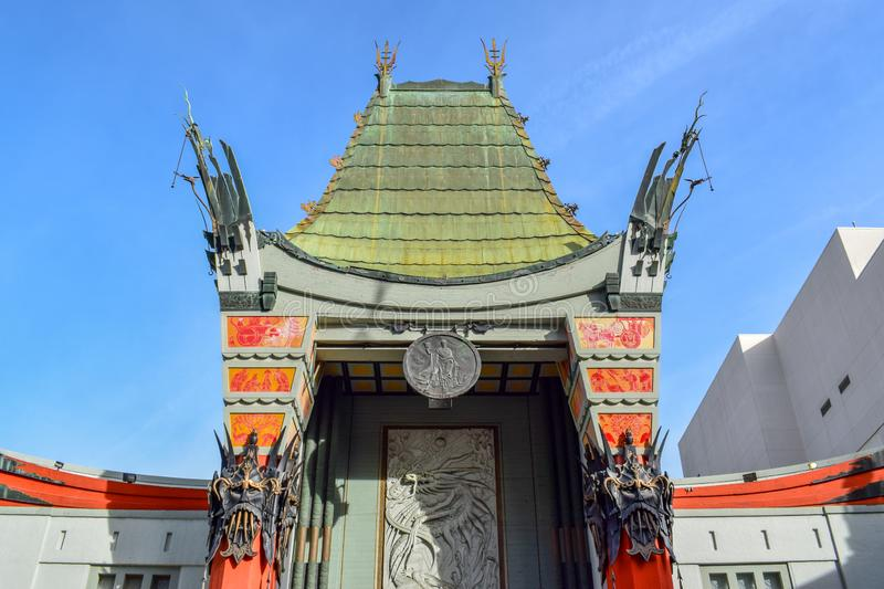 Chinese Theater in Hollywood Boulevard, Los Angeles. Photo of the iconic Chinese Theater shot in Hollywood Boulevard, Los Angeles on a sunny day royalty free stock images