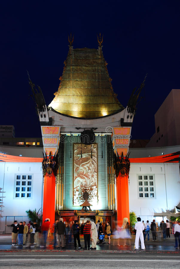 Chinese Theater, Hollywood. The Grauman Chinese theater is a landmark in the movie making industry. it is famous for the hand and foot prints found in their royalty free stock photos