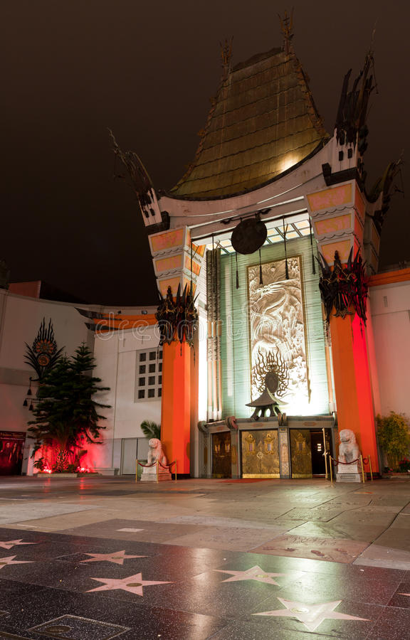 Chinese Theater in Hollywood at night. Los Angeles, California - June 12, 2011: Grauman's Chinese Theater in Hollywood at night. One of the most famous landmarks royalty free stock photo