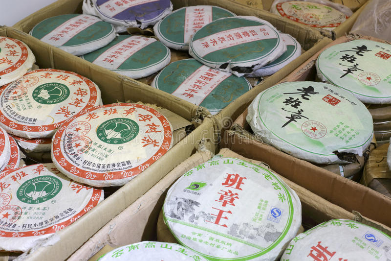 Chinese thee pu-ER stock afbeelding