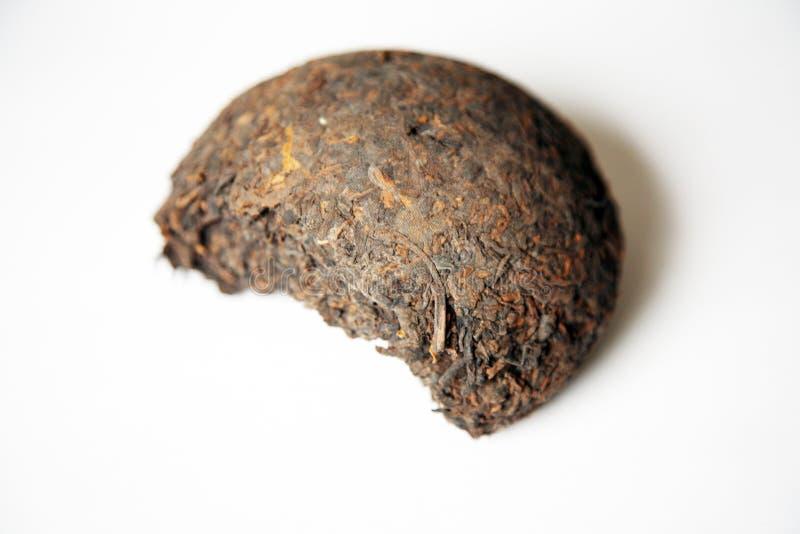 Chinese thee pu -pu-erh in een blok stock afbeelding