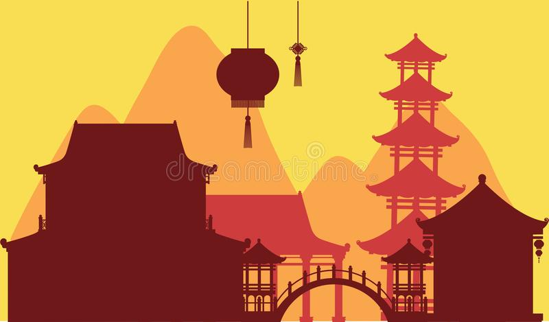 Chinese theme background with temple buildings. Illustration vector illustration