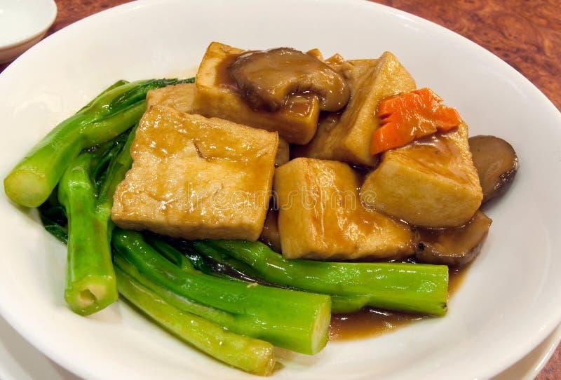 Chinese Tofu Sauteed met greens royalty-vrije stock foto