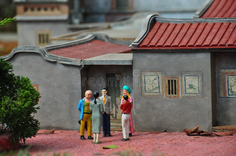 Chinese Town. Chinese miniature house with people royalty free stock photo