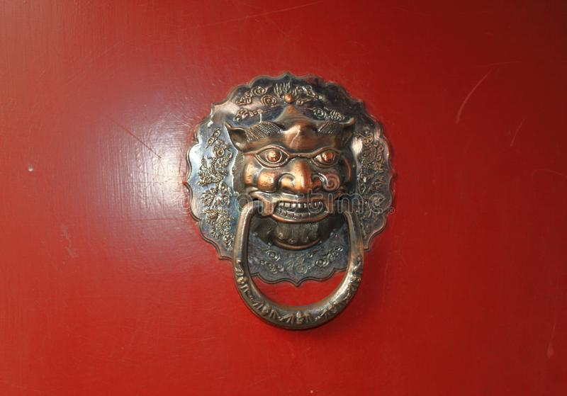Chinese traditional brass knocker stock photo