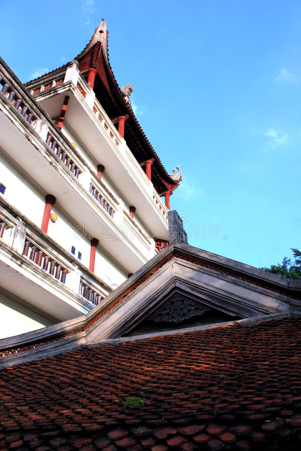 Chinese traditional building at Chinese temple in Vietnam. stock image