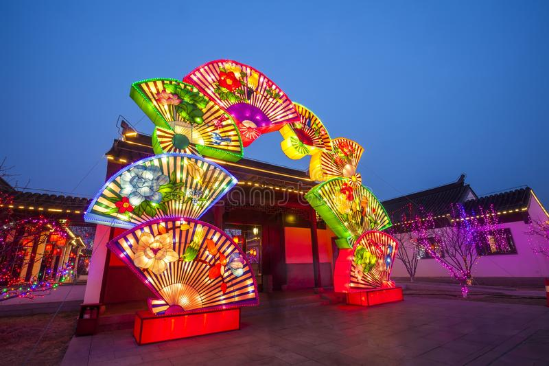 Chinese traditional buildings at night. ,close-up royalty free stock photo