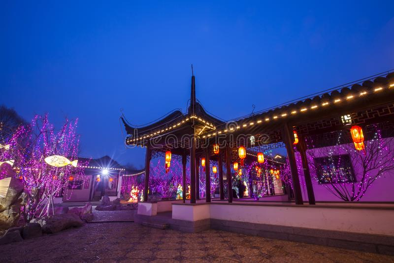 Chinese traditional buildings at night. ,close-up stock images