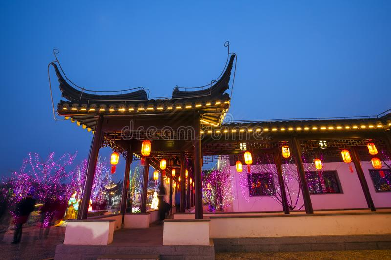 Chinese traditional buildings at night royalty free stock image