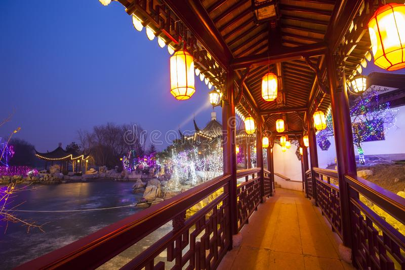 Chinese traditional buildings at night stock photos