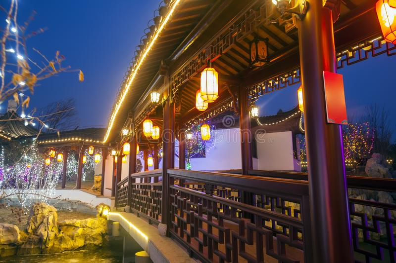 Chinese traditional buildings at night. ,close-up stock photography