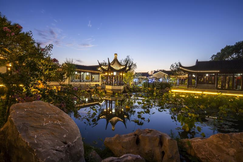 Chinese traditional buildings. At night stock images
