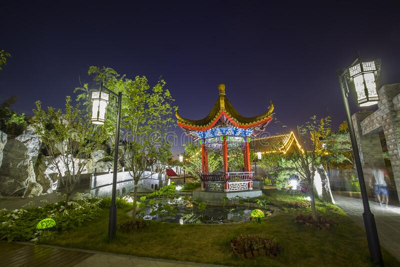 Chinese traditional buildings. At night royalty free stock photos