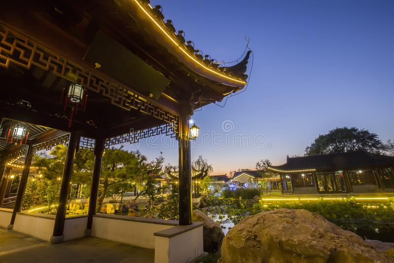 Chinese traditional buildings. At night royalty free stock images