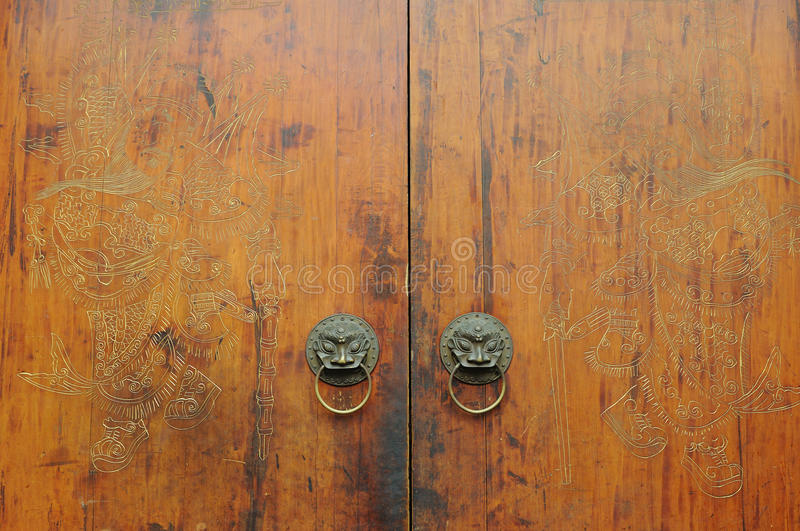 Chinese traditional carved wooden door stock image