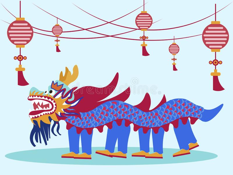 Chinese traditional dance and performance. In minimalist style Cartoon flat vector stock photography