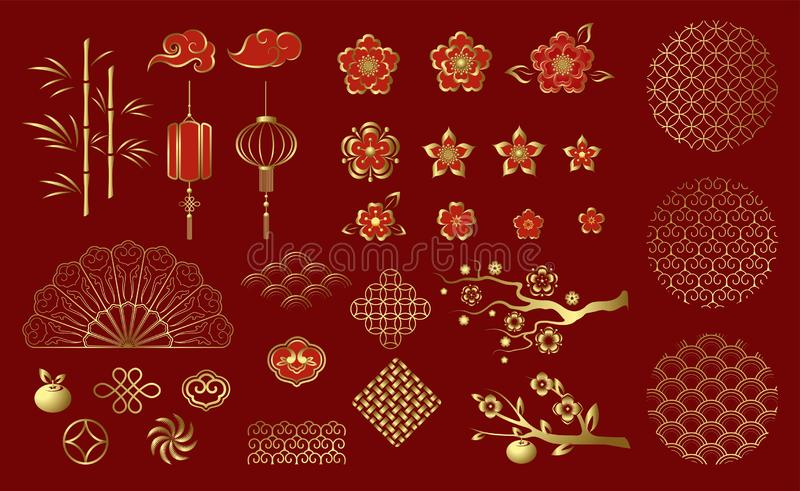 Chinese traditional decorative ornaments and elements. Set of Chinese festive gold ornaments on red background. stock illustration
