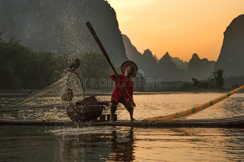Chinese traditional fisherman with cormorants fishing, Li River. China - East Asia, Fishing, Chinese Ethnicity, Guangxi Zhuang Autonomous Region royalty free stock photos