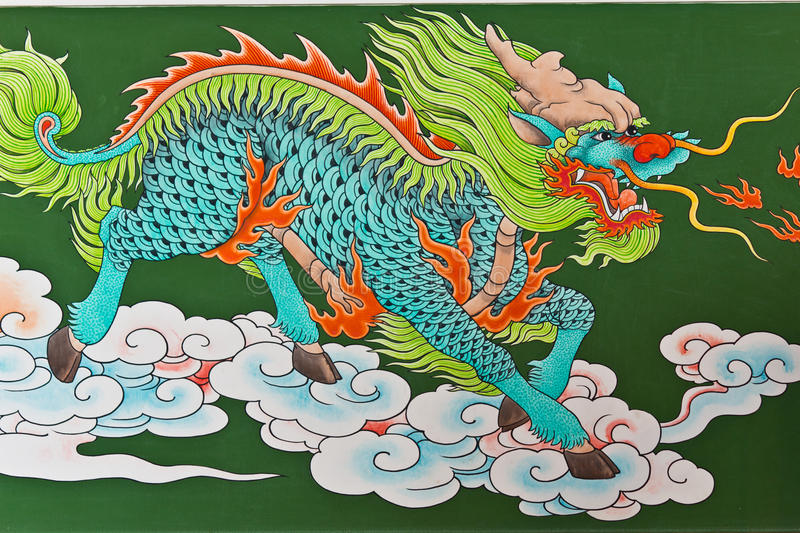 Chinese traditional kirin pattern stock illustration