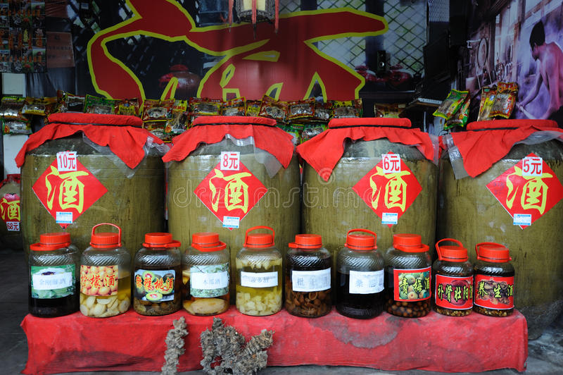 Chinese traditional liquor in the store. In Shangli ancient town ,Yaan,China stock images
