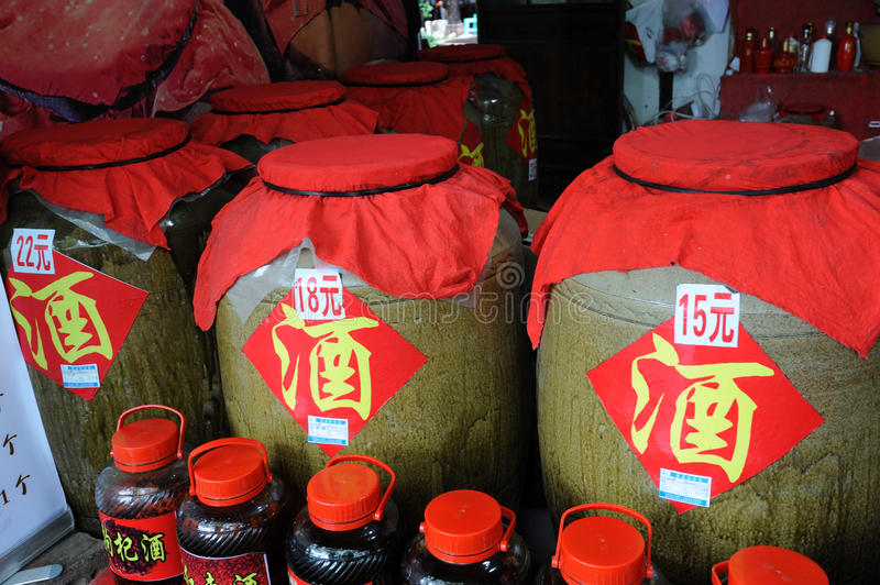 Chinese traditional liquor in the store. In Shangli ancient town ,Yaan,China royalty free stock photography