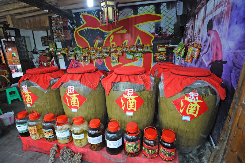 Chinese traditional liquor in the store. In Shangli ancient town ,Yaan,China royalty free stock photos