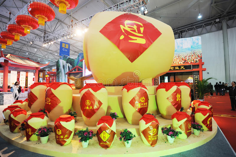Chinese Traditional Liquor Urns. The national sugar and alcoholic commodities trade fair 2012,March 23th-26th,in chengdu,sichuan,china royalty free stock photos
