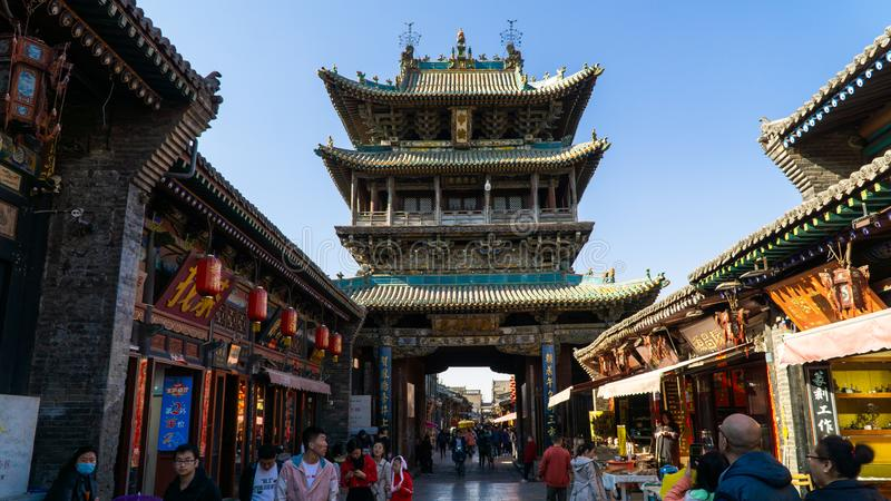 Chinese traditional Market Tower located in the middle of Pingyao Ancient City, constructed in 14th century, China stock photos