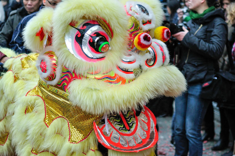 Chinese traditional new year lion dance stock image