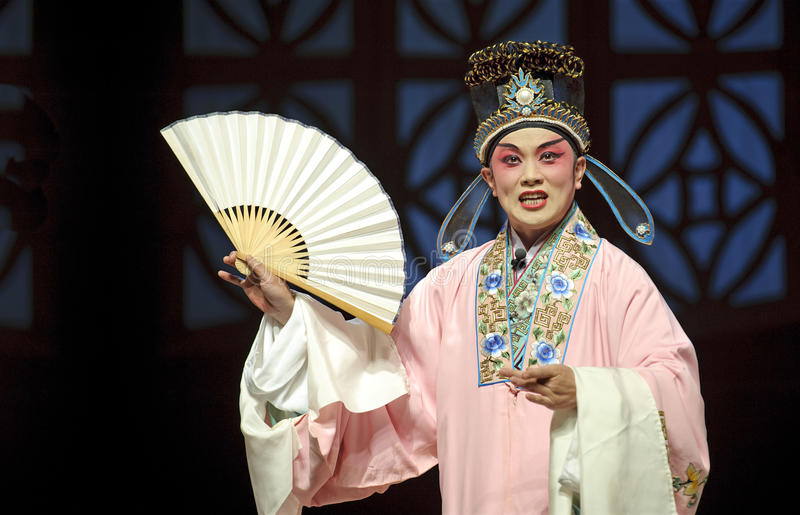 Chinese traditional opera actor. A chinese Sichuan opera actor performs on stage stock photos