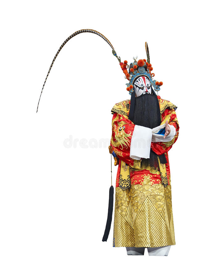 Chinese traditional opera actor. With white isolated background royalty free stock photo