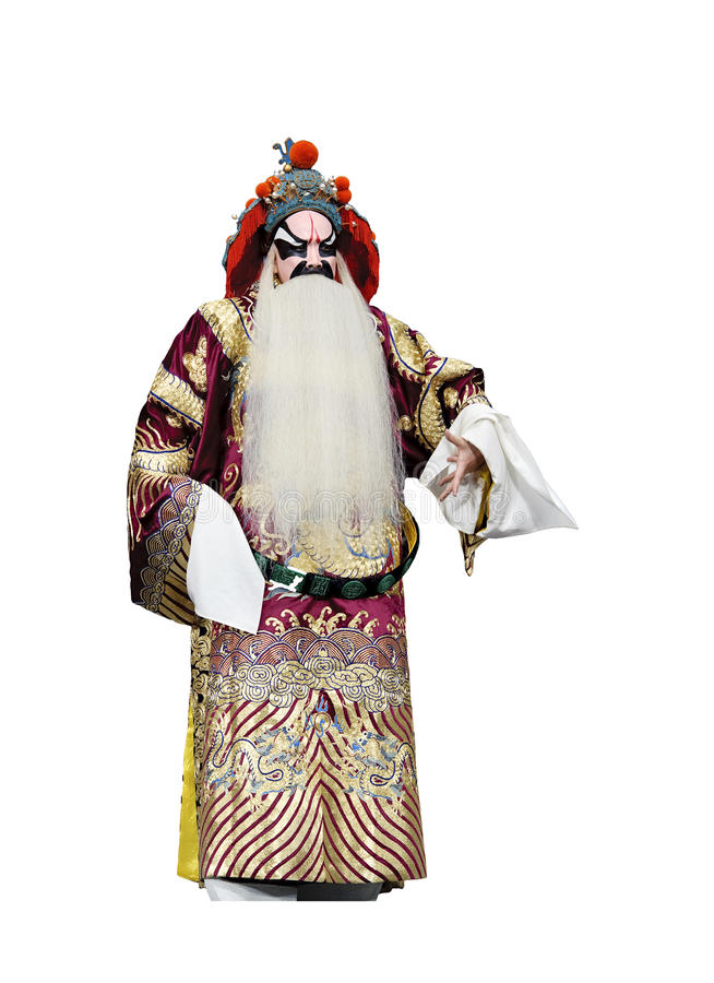 Chinese traditional opera actor. With theatrical costume and facial painting stock image