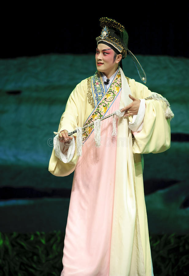 Chinese traditional opera actor. Performs on stage royalty free stock photo