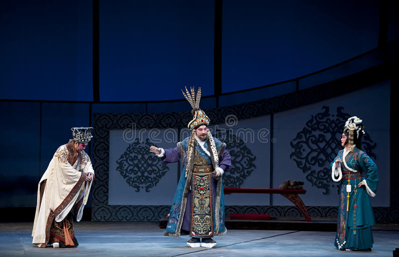 Chinese traditional opera actor. CHENGDU - MAY 9: Chinese opera actor performs on stage in 26th Chinese Drama Plum Blossom Award competition at Southwest theater royalty free stock photos
