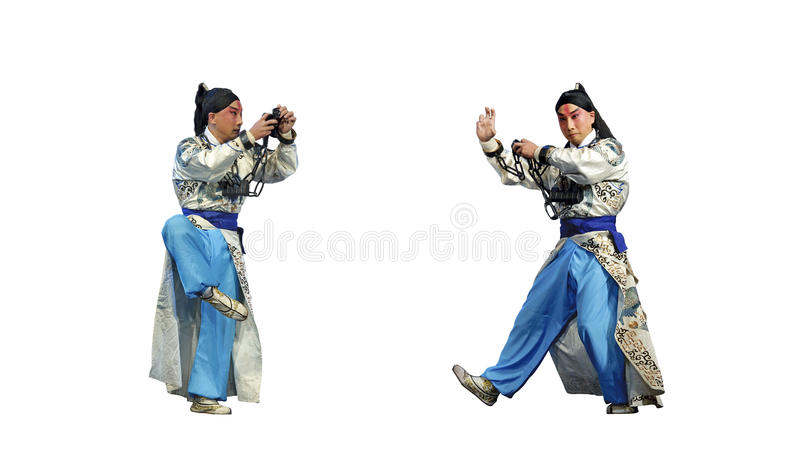 Chinese traditional opera actor with theatrical co. Stume on stage royalty free stock photo